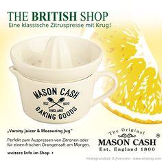 Perfekt für die heiße Zitrone oder ein Glas Orangensaft ist die Zitruspresse mit Krug von Mason Cash.