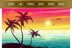Eps Vector, Vector File, Svg File, Mug Art, Tree Svg, Tropical Landscaping, Paper Crafting, Palm Trees, Design Bundles