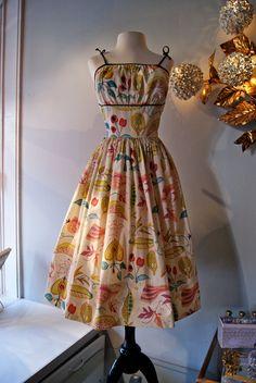 Fabulous 1950s 50s Cotton Novelty Print Full Skirt Sun Dress Fruit Cherries Shelf Bust Spagetti Straps