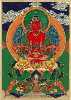 Amitájusz (tib. Cepame) a hosszú élet és egészség buddhája, Amitábha (Határtalan Fény) örömtestben megjelenő alakja. A képet egy, a Ráth György múzeumban megtekinthető XVIII. századi thangka alapján festettem. (2014 február) Amitájusz szimbólikájáról bővebben: http://www.buddhistaegyhaz.hu/tartalom.php?oldal=dharma&dharma=dharma-amitajusz