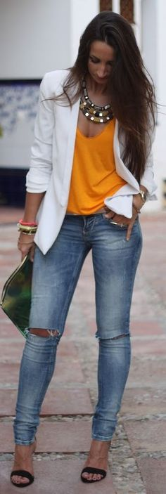 Ladies --- White blazers make any summer/spring look even classier. The white/orange/ ripped denim combo is so fresh!