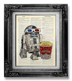 R2D2 Retro STAR WARS Poster Art, Nerd Art, Nerd Poster, Old School Movie Geekery Poster Print on Dictionary Paper - 3D Glasses Robot Popcorn...