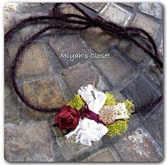 Burgundy Rose Tieback Headband  Vintage Style by MiyahsCloset, $9.50