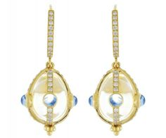 18K Classic Amulet Earring with Royal Blue Moonsone and Diamond Pavé - Temple St. Clair