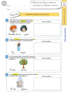 CP:NUMERATION CALCUL.Les Problèmes additifs et soustractifs Montessori, French Grammar, Grade 1, Reading, School, Note Cards, Mathematical Practices, Management, Reading Books