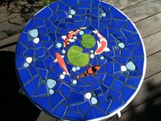 Koi tile mosaic table