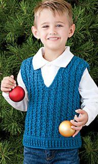 Ravelry: Child's Cabled Vest pattern by Ira Dearing Crochet World December 2011 Crochet Toddler, Crochet Baby Clothes, Crochet For Boys, Crochet Vest Pattern, Crochet Cardigan, Crochet Shawl, Crochet Vests, Baby Boy Knitting Patterns, Knitting For Kids