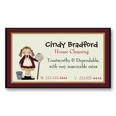 House cleaning maid business card cleaning maid cleaning business cute girl with mop maid business card colourmoves