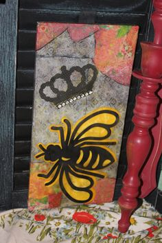 Queen Bee Recycled Art with a Bees Wax Overlay