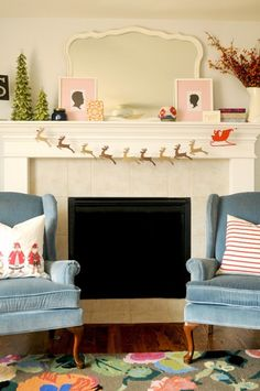 diy santa and reindeer garland. and the mantel.oh and the blue chairs Merry Little Christmas, Christmas Love, All Things Christmas, Christmas Holidays, Christmas Crafts, Christmas Decorations, Holiday Decor, Christmas Baubles, Homemade Christmas