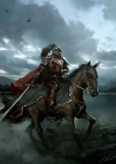 Alone in the dark by daRoz knight fighter paladin prince sword horse horseback rider armor clothes clothing fashion player character npc | Create your own roleplaying game material w/ RPG Bard: www.rpgbard.com | Writing inspiration for Dungeons and Dragons DND D&D Pathfinder PFRPG Warhammer 40k Star Wars Shadowrun Call of Cthulhu Lord of the Rings LoTR + d20 fantasy science fiction scifi horror design | Not Trusty Sword art: click artwork for source