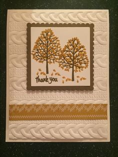 SU Totally Trees, Cable Knit 3D embossing folder and Warmth and Cheer DSP