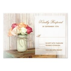 Roses in Mason Jar Wood Wedding RSVP Cards