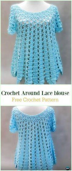 Crochet Around Lace Blouse Free Pattern Video -Crochet Summer Top Free Patterns