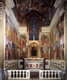 Cappella Brancacci ( 1426 - 1482 ) - Chiesa di Santa Maria del Carmine, Firenze. Gli affreschi sono opera di due dei più grandi artisti dell'epoca, Masaccio e Masolino da Panicale, ai quali deve aggiungersi la mano di Filippino Lippi, chiamato a completare l'opera circa cinquant'anni dopo.
