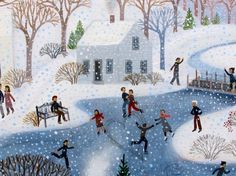 from Valentine's Day by Diana Card Christmas Paintings, Christmas Art, Christmas Scenes, Snow Scenes, Winter Scenes, Winter Illustration, Illustration Art, Wildlife Nature, Sketch Painting