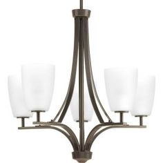 Progress Lighting Leap Collection 5-light Antique Bronze Chandelier with Etched Opal Glass Shade-P400043-020 - The Home Depot