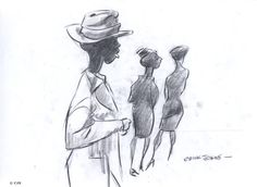 Three figures, charcoal on paper, 8.5″ x 11″, by Chuck Jones, circa early 1960s. You have to admire how Jones captures movement and attitude with such economy of line and scale; it's a complete story. Many thanks for all the <3s and reblogs of yesterday's image!