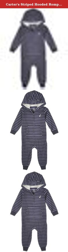 Carter's Striped Hooded Romper (Baby) - Navy-24 Months. Carter's Striped Hooded Romper (Baby) - Navy Carter's is the leading brand of children's clothing, gifts and accessories in America, selling more than 10 products for every child born in the U.S. Our designs are based on a heritage of quality and innovation that has earned us the trust of generations of families. Snaps at the legs for easy changes. Nickel-free snaps. Ribbed cuffs keep sleeves and legs in place. Lined with soft and...