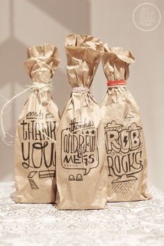 Personalized Wine Gift Bags; inexpensive and uniquely quirkie!