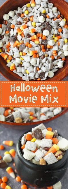 Halloween Movie Mix - A delicious fall inspired snack mix filled with muddy buddies, reese's pieces, candy corns, salted caramel peanuts, mini white chocolate reese's cups and mini milk chocolate rees (Halloween Chex Mix) Sac Halloween, Halloween Goodies, Halloween Food For Party, Halloween Treats, Halloween Baking, Halloween Trail Mix Recipe, Easy Halloween Desserts, Halloween Movie Night, Healthy Halloween