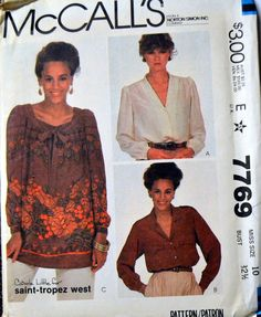 Vintage Sewing Pattern McCall's 7769 Misses Carole Little/ Saint-Tropez West Blouses  Size 10 B 32 Complete Uncut by GoofingOffSewing on Etsy