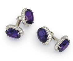 A PAIR OF AMETHYST AND DIAMOND CUFFLINKS, BY CARTIER Each composed of a pair of oval-cut amethyst and brilliant-cut diamond cluster panels, joined by sprung bar-link connections, French marks for platinum and gold, maker's case Signed Cartier Paris, no.R3775