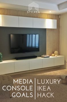 Create a luxe customised media console with backlit TV mount using IKEA& Besta system. Click the link to find out how. Ikea Tv Console, Tv Console Modern, Ikea Tv Wall Unit, Ikea Tv Stand, Floating Cabinets, Ikea Living Room, Tv Furniture, Furniture Stores, Jamel