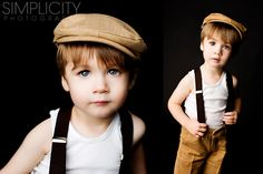 Melt my heart.  Suspenders, singlet (as we say in Australia - much nicer than wife beater, corduroys and paper boy hat.