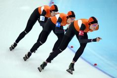 Marrit Leenstra, Ireen Wust and Jorien ter Mors of the Netherlands compete during the Women's Team Pursuit Final A Speed Skating event (c) Getty Images