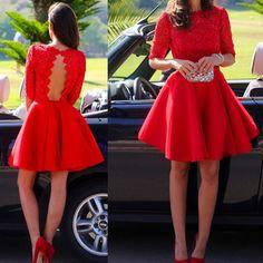 Red lace graduation dresses, short/mini graduation dresses
