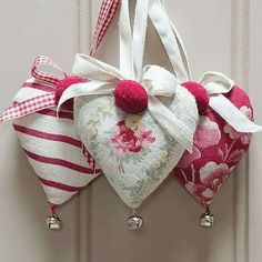 Small Lavender Heart With Bell- crafty and cute Valentine Decorations, Valentine Crafts, Be My Valentine, Christmas Crafts, Christmas Ornaments, Lavender Bags, Lavender Sachets, Sewing Crafts, Sewing Projects