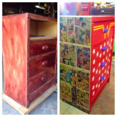 Wonder women dresser Superhero Room, Painted Chairs, Wonder Women, Filing Cabinet, Dresser, Kids Room, Upholstery, Bedrooms, Game