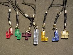 Tetris Tetriminos Cell Phone or Nintendo DS Charm by GeekOUTlet, $7.00