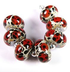 Red Leopards - BBGLASSART - Lampwork Boro Bead
