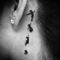 artistic small tattoos | black and white disney peter pan disney tattoo tattoo small tattoo