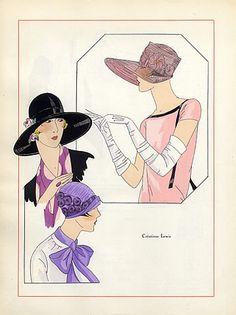 Lewis (Millinery) 1926 Fashion Illustration hats, Pochoir