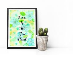 Love Is All You Need Watercolor Printable Wall Art Home
