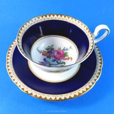 Cobalt Border With Floral Center Aynsley Tea Cup and Saucer Set | Pottery & Glass, Pottery & China, China & Dinnerware | eBay!