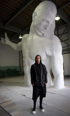 Mr Big: Rick Owens and a giant statue of his torso that will be winched onto the front of Selfridges this September. Great interview!