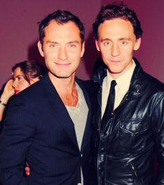 Hiddleston and Jude Law..holy crap!  Throw in RDJ and we have a gay porn I'd gladly watch!