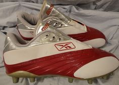 Reebok NFL Equipment Football Cleats Soccer Shoes size 12 Red, White, Silver #Reebok #Cleats