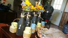 Homeade table placers. Country. Mason jars. Burlap.