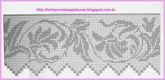 MIRIA CROCHÊS E PINTURAS Crochet Curtains, Crochet Tablecloth, Crochet Doilies, Crochet Flowers, Weaving Patterns, Lace Patterns, Cross Stitch Patterns, Crochet Patterns, Filet Crochet Charts