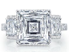 DIAMOND RING | 3 Stone Carre Diamond Ring Martin Katz | www.bocadolobo.com/ #luxuryfurniture #designfurniture