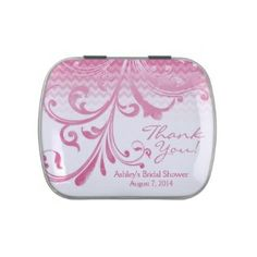 Pink Floral Bridal Shower Thank You Tin, #bridalshower #partyfavors #pink