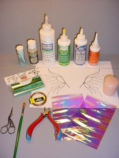 Photo of what you'll need to make Fairy Wings--How to make fantasy film fairy wings, by Artisan Deb Wood