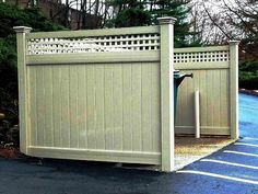 PVC Dumpster Enclosure with a Square Lattice Topper