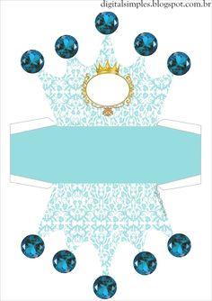 "Convites Digitais Simples: Kit Personalizado Tema ""Coroa Azul Menino"" para…                                                                                                                                                     Mais"