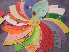 A fantastic alternative to a class card for a staff member, ill child or parent helper. Each child simply writes their message onto a coloured petal. The petals are then joined together.